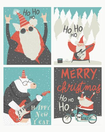 Set of Christmas cards with rock n roll Santa Claus Illustration