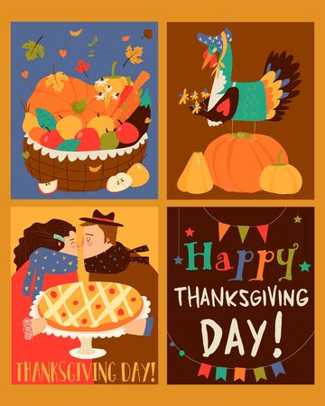 Sset of Thanksgiving card with turkey and harvest Vettoriali