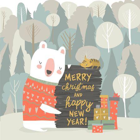 Cute cartoon bear celebrating Christmas in winter forest