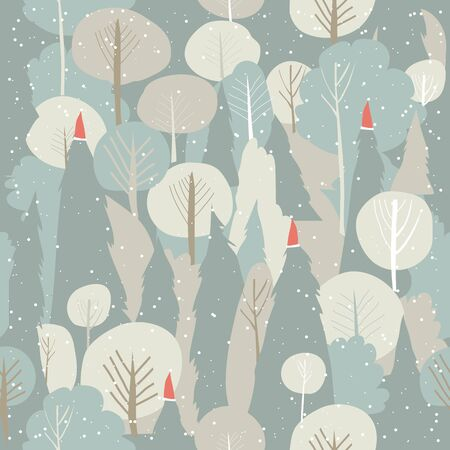 Seamless vector winter forest pattern. Christmas background Illustration