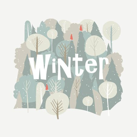 Vector cartoon winter forest. Christmas background. Forest in snow
