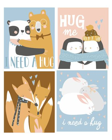 Set of colored cartoon animals hugging. I need a hug