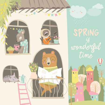 Cute animals look out of the windows. Hello spring. Vector illustration