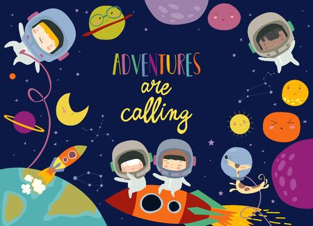 Vector frame composed of girls ans boys astronauts riding a rocket Ilustracja