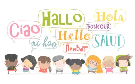 Group of cartoon kids talking in different languages. Vector isoated illustration