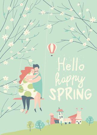 Cartoon happy couple in love riding on swing in spring garden