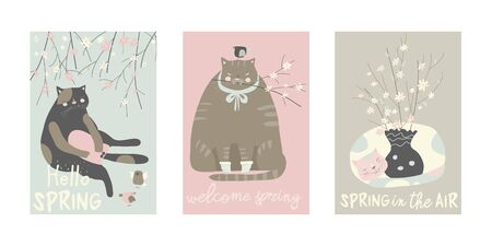 Cartoon set of cute cats with blossom branches