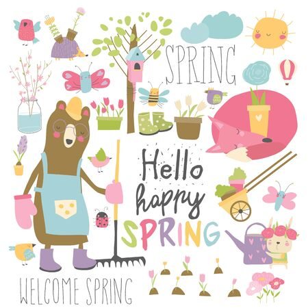 Set of cartoon animals and spring elements Ilustrace