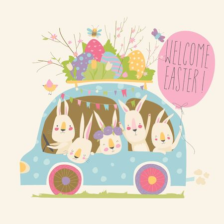 Cute cartoon bunnies driving a car with easter eggs. Vector illustration
