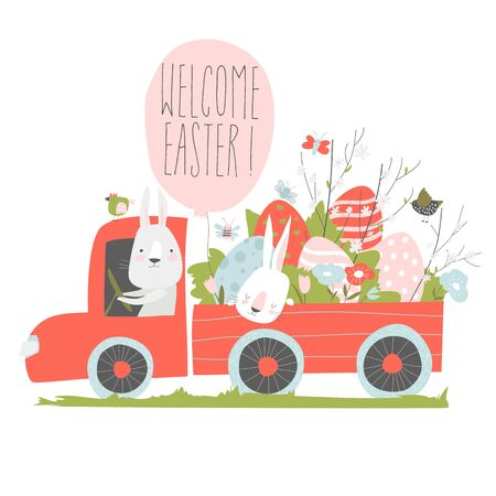 Cute cartoon bunny driving a car with easter eggs