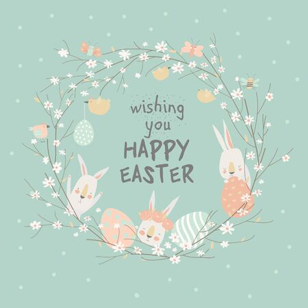 Cartoon Easter wreath with cute rabbits and Ester eggs. Vector illustration