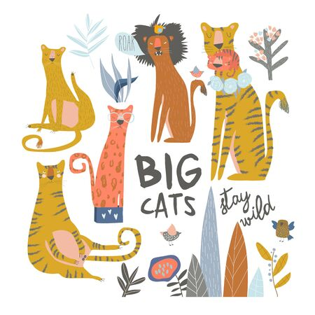 Set of cartoon wild cats. Lion,tiger,leopard. Vector illustration