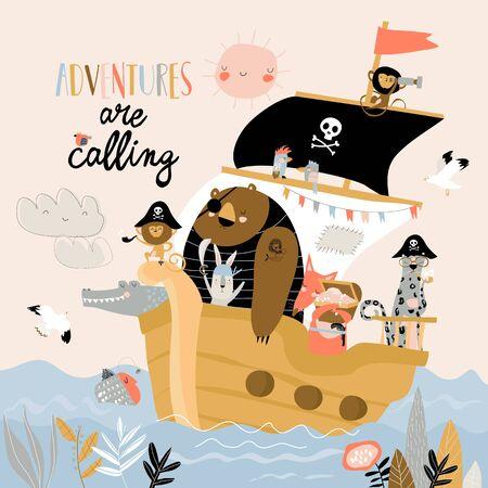 Cute cartoon animals pirates sailing in their ship Ilustrace
