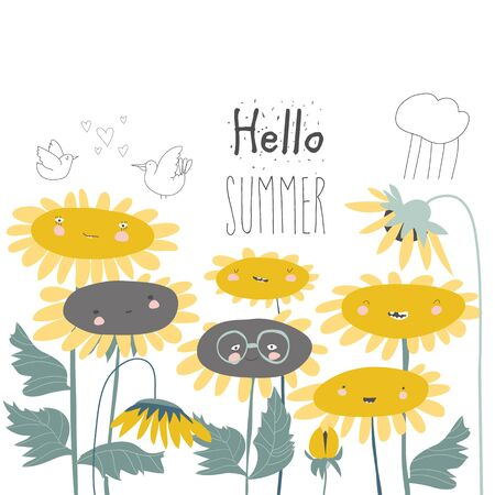 Cute cartoon smiling sunflowers. Flowers with smiley faces. Illustration