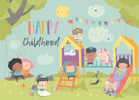 Children playing at playgroung. Vector illustration