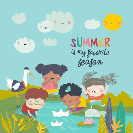Happy children play with paper boat. Hello summer. Vector illustration