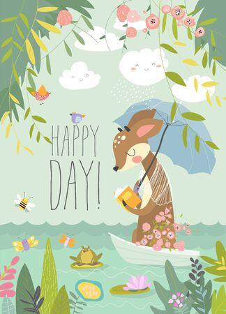 Cute deer reads book in little boat. Hello summer. Vector illustration