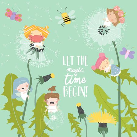 Cute little fairies flying above dandelions. Vector illustration