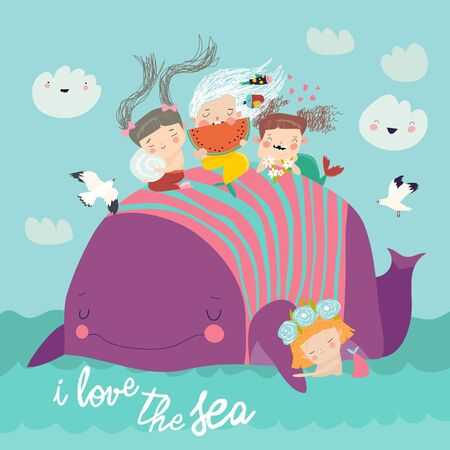 Cute little mermaids with big whale in the blue sea. Vector illustration 矢量图像