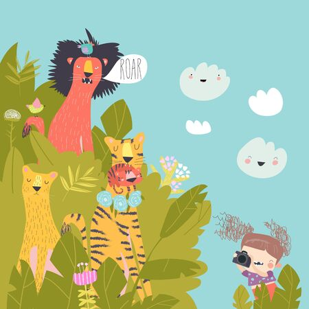 Funny little girl takes pictures lions in bushes