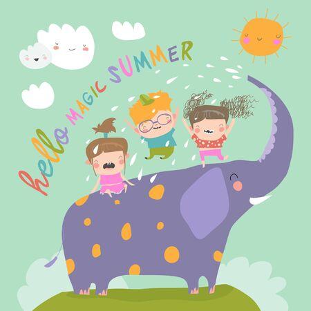 Happy kids with big elephant meet summer