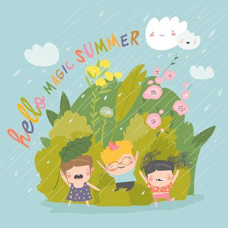 Happy children enjoying on the rain. Happy summer
