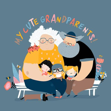 Happy grandparents with their grandchildren sitting on bench. Vector illustration
