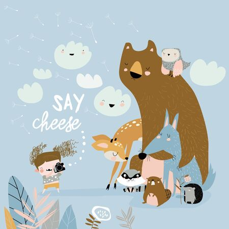 Funny little girl takes pictures animals. Vector illustration Illustration