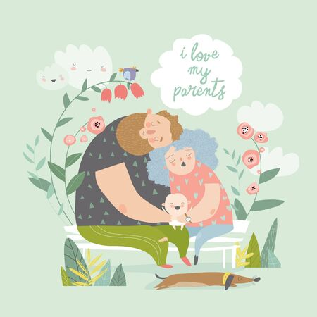 Tired parents hugging their joying cute baby. Vector illustration