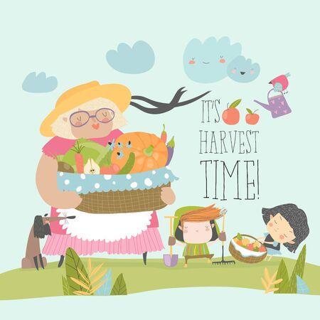 Cartoon grandmother holding basket with vegetables. Vector illustration