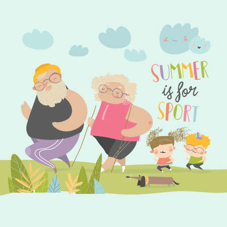 Happy grangparents doing sport with little grandchildren. Vector illustration  イラスト・ベクター素材