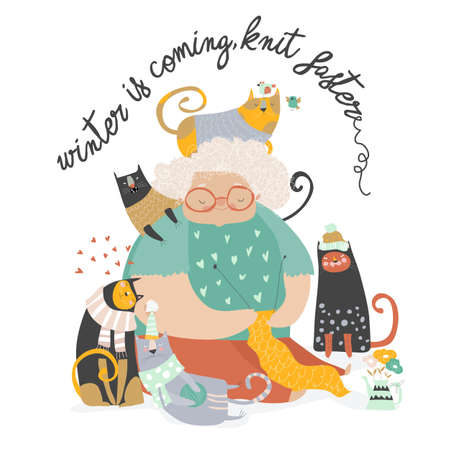 Cartoon funny grandmother knit for her cats Archivio Fotografico - 150760295