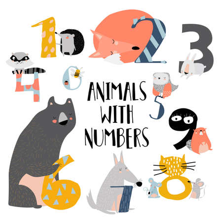Cartoon illustration of numbers set from one to nine with woodland animals. Vector set