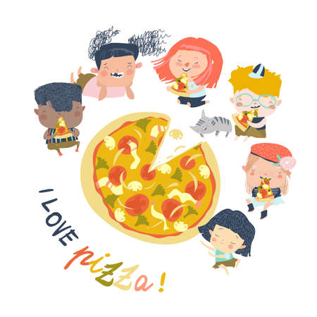 Cartoon hungry children eating pizza on a white background