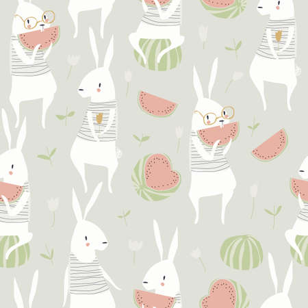 Seamless pattern with cute rabbits and watermelon