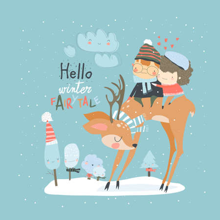 Couple in love sitting on deer in winter forest