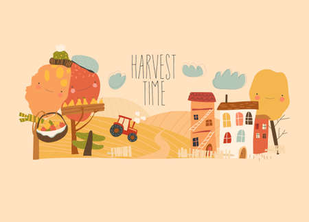 Agricultural autumn landscapes with tractor, hay field and trees. Harvest in countryside. Vecteurs