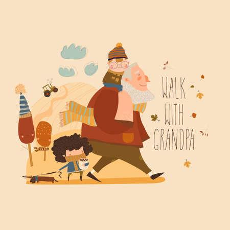 Cartoon happy grandfather walking with his grandchildren Ilustração Vetorial