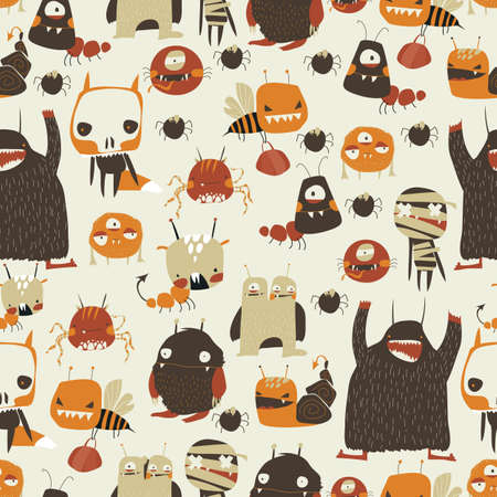 Seamless pattern with cute colorful monsters on white background