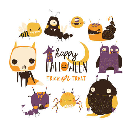 Set of cute colorful monsters on white background Ilustração