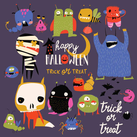 Set of cute colorful monsters. Happy Halloween