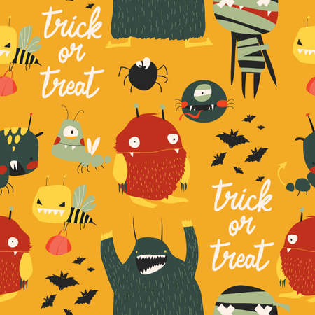 Seamless pattern with cute colorful monsters on yellow background