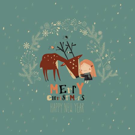 Cute girl hugging deer in Christmas wreath