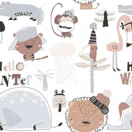 Seamless pattern with cartoon wild animals meeting winter in jungle 矢量图像