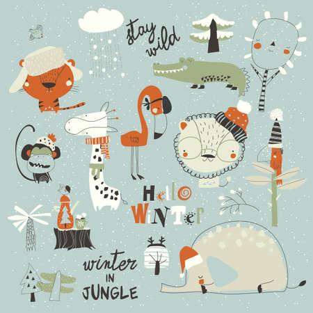 Cartoon wild animals meeting winter in jungle 向量圖像