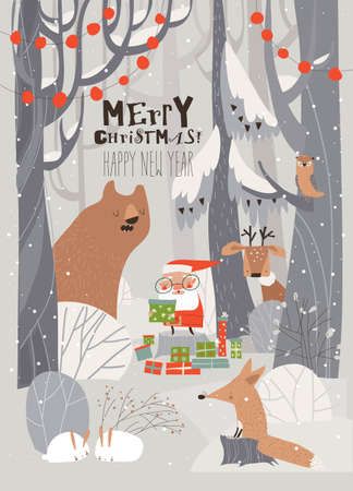 Cartoon Santa Claus with animals in the winter forest