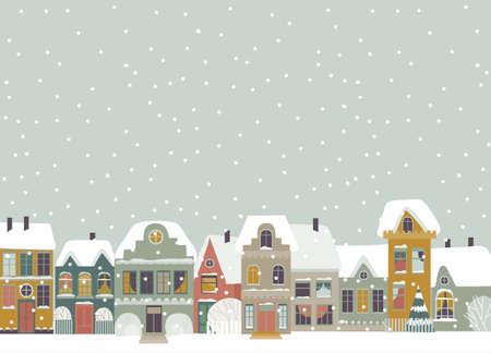 Cute cartoon little town in Christmas time 向量圖像