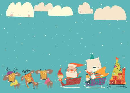Cartoon sleigh with Santa Claus and animals 向量圖像