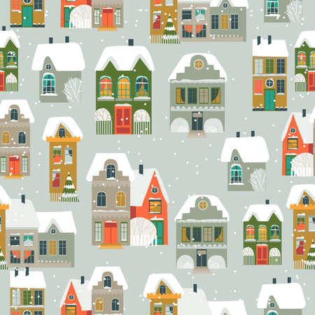 Seamless pattern with cartoon little town in Christmas time 矢量图像