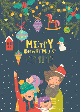 Cartoon happy family celebrate Christmas. Hello winter 向量圖像